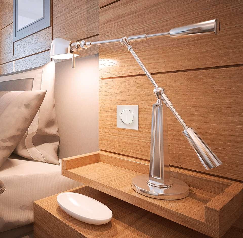 Lampe de chevet dans une chambre moderne