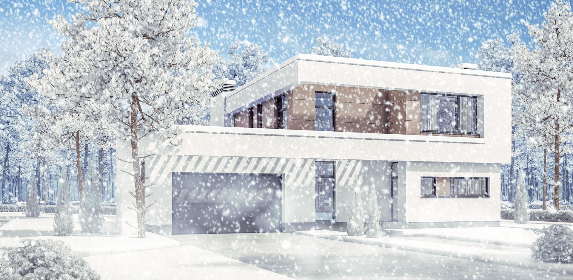 Maison de standing sous la neige