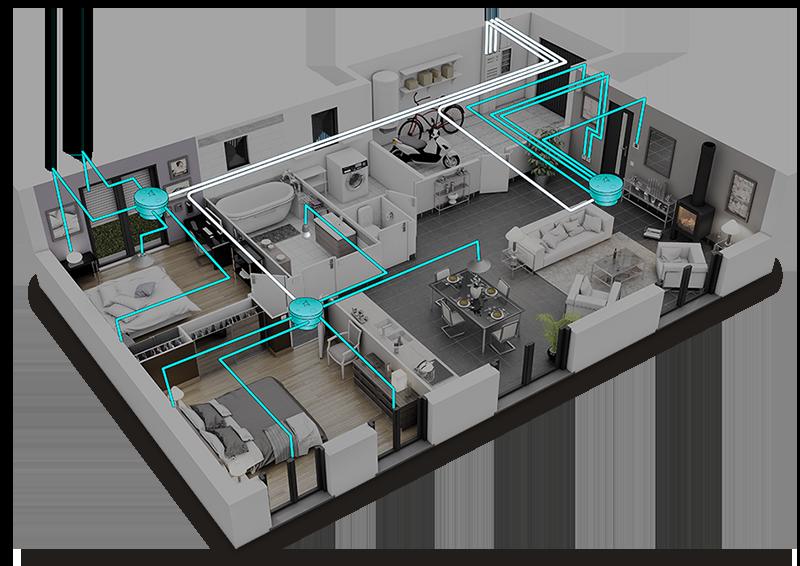 Une maison en 3D avec un réseau de pieuvres électriques et domotiques